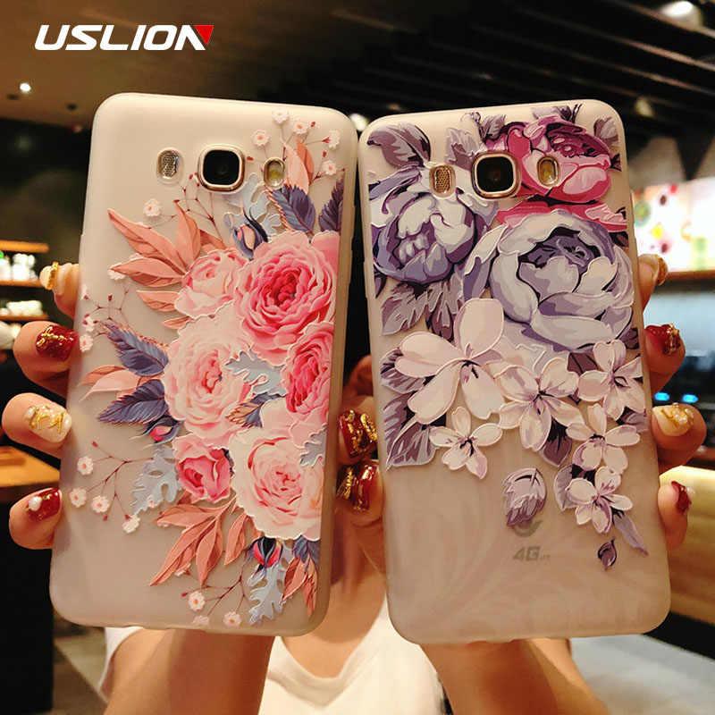 USLION Çiçek Telefon samsung kılıfı Galaxy S9 S8 Artı S7 Kenar A3 A5 A7 J3 J5 J7 2017 Serisi Not 9 8 şeffaf Yumuşak TPU kapak Kılıfları