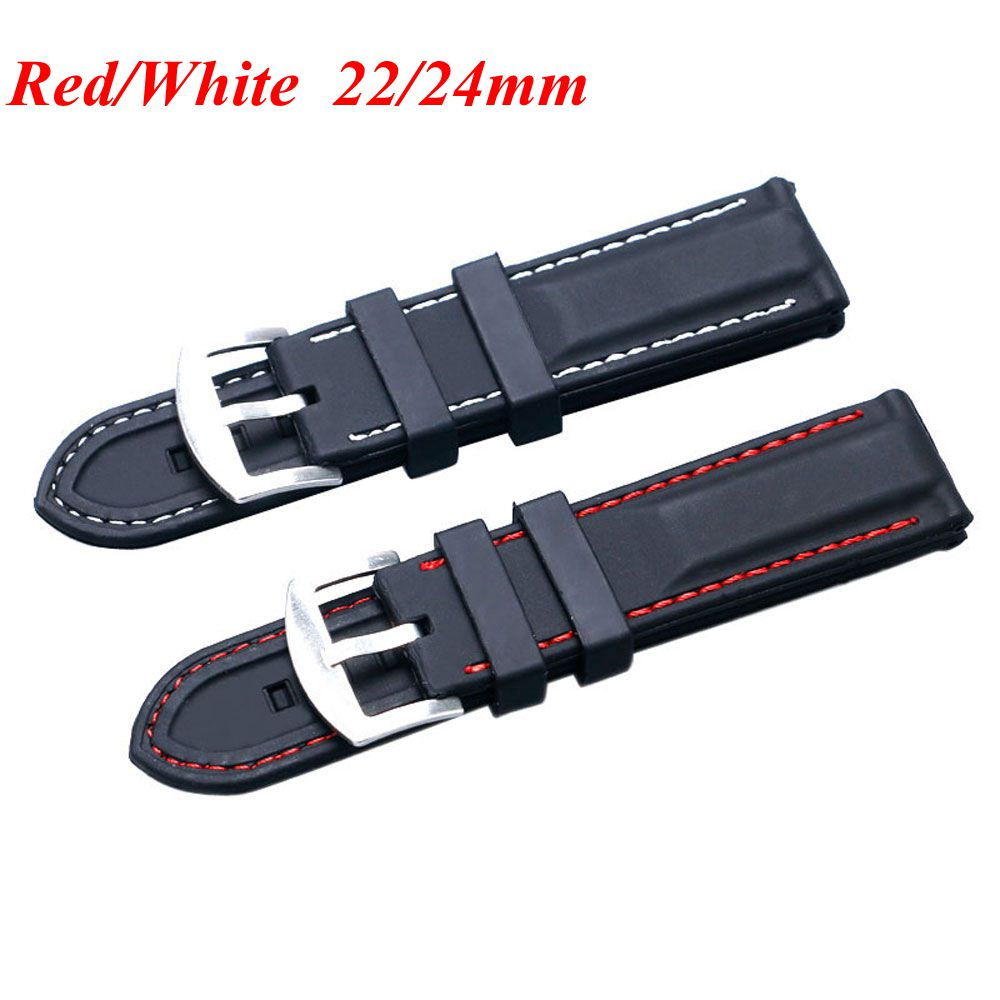Ourdoor Military Waterproof Black 22/24mm Bracelet Replacement Soft Red Line Stitching Silicone Watch Strap Band new mf8 eitan s star icosaix radiolarian puzzle magic cube black and primary limited edition very challenging welcome to buy