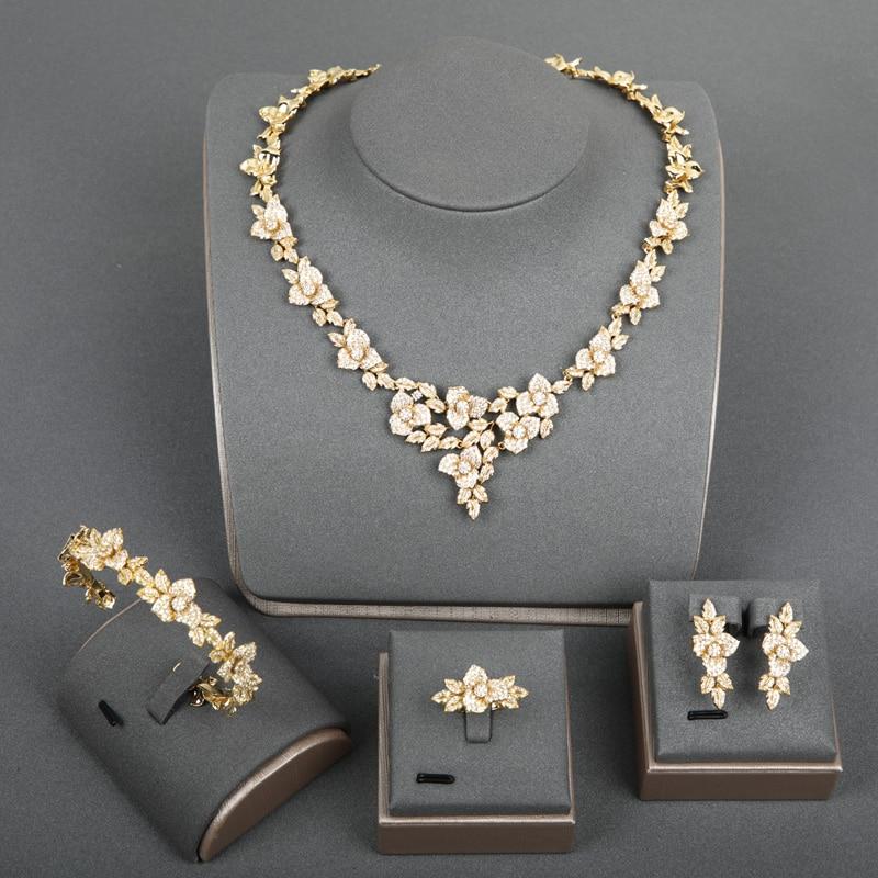 Dazz luxe complet Zircon bijoux ensembles Rose collier boucles d'oreilles anneau bracelet pour les femmes de mariage couleur or accessoires meilleurs cadeaux 2019