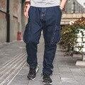 Plus Size Men Loose Hanging Crotch Harem Jeans Pants Dark Blue Big Men Low Crotch Jeans Low Rise Men's Multi Pocket Denim Pants