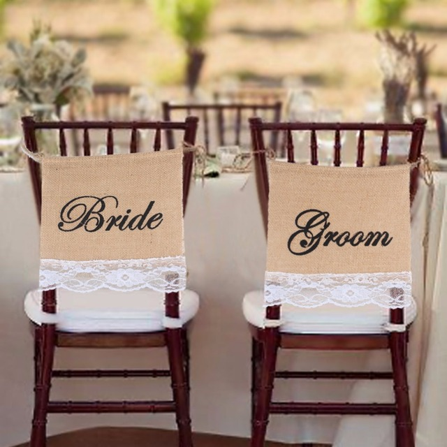 Groom Bride Chair Signs Burlap Lace Banner Garland For Wedding Decoration  Jute Hessian Photography Props DIY