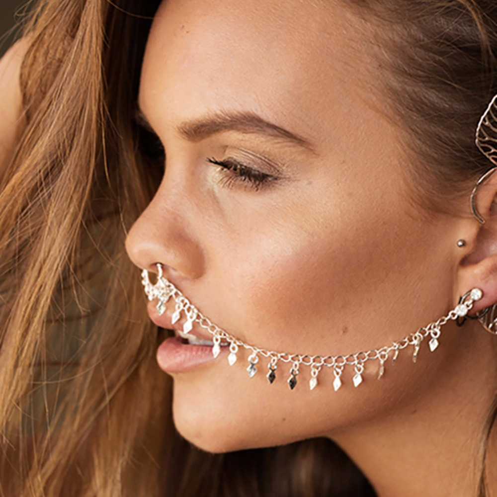 1pcnew Design Summer Style Tassel Fake And Studs Earring Chain Gold Hoop  Fake Septum Piercing For
