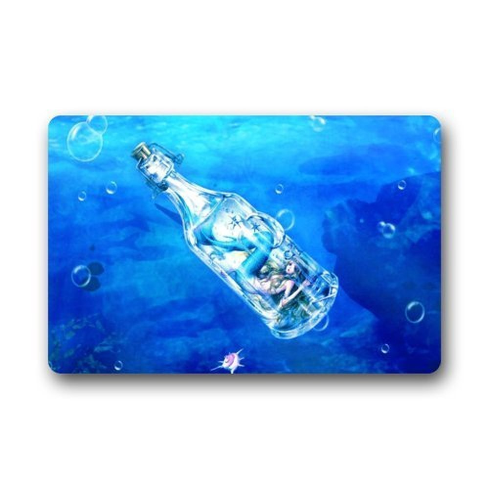 Mr. Six Mermaid Bottle Art Painting Fish Doormats Entrance Mat Door Mat Rug Mats Rubber Non Slip