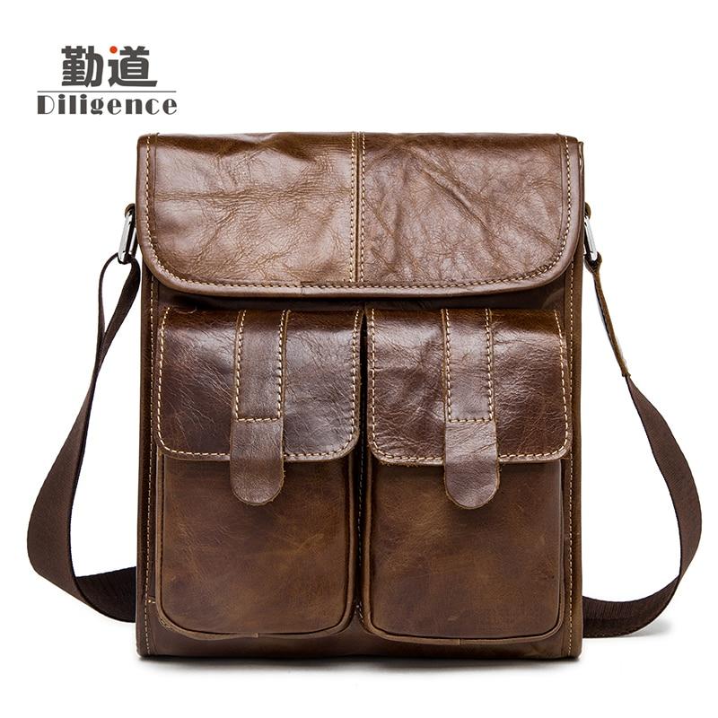 ФОТО 2017 New Arrival Men's Shoulder Bag Satchel Genuine Cowhide Leather Messenger Bags For Men Rugged Portfolio Vintage Fashion Bags
