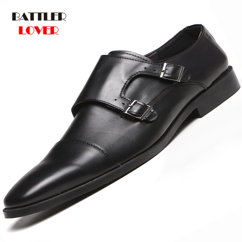 2019 New Men Leather Shoes Man Flat Classic Dress Shoe Men