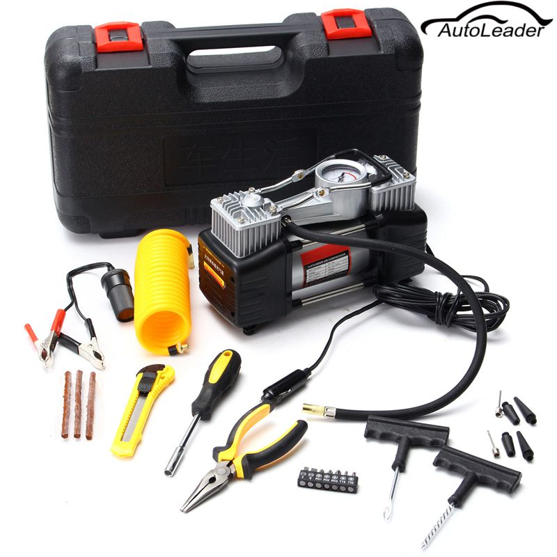 New Arrival Heavy Duty 12V Portable Twin cylinder Compressor/Tyre Inflator 150psi Pressure Pump Tool set new arrival 12v 4800pa ac car electric air pump for camping airbed boat toy inflator