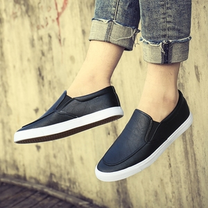 Image 5 - Fashion Men Loafers Slip On Casual Leather Shoes Mens Comfortable Moccasins Shoes Breathable Sneakers 2019 New Black White Flats