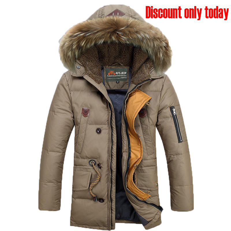 Neue auflistung 2018 Winter Afs Jeep Männer Unten Parkas Jacken Mode Mann Mit Kapuze Dicke Warme Outwear Mantel Wadded Mantel 160