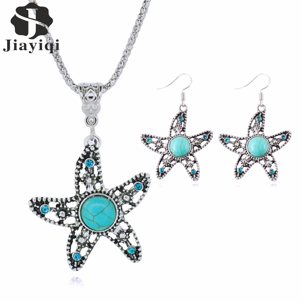 2017 New Arrival Fashion Jewelry Sets Stars Necklace Pendants With Silver Stud Earrings Fine Jewelry Vintage Accessories