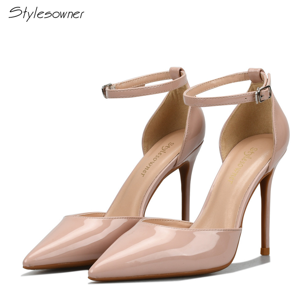Stylesowner Open Side High Heels Women Pumps 2018 Spring Summer Shoes Elegant Wedding Shoes Buckle Strap Super High Thin Heels bigtree summer autumn women pumps elegant show thin heels stiletto suede pointed side hollow female high heels shoes g3168 6