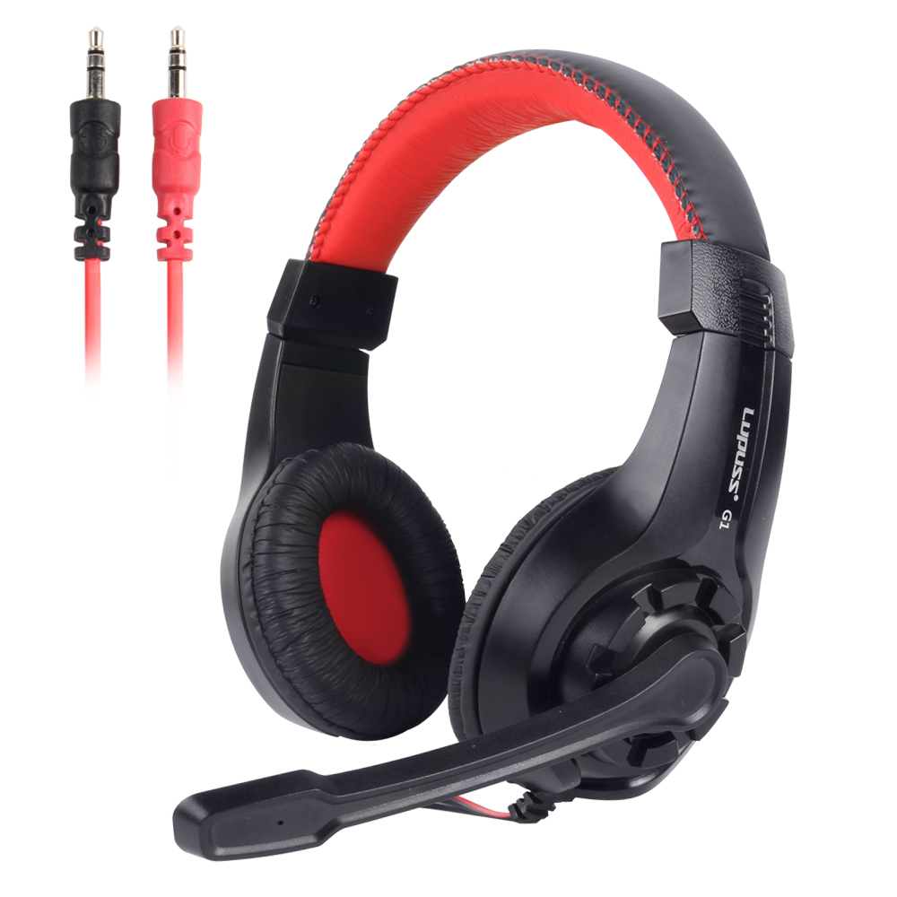 LUPUSS Wired Headphone Stereo Sound Earphone Adjustable Pro Gaming Headset With Mic 3.5mm Audio Cable For Desktop PC Gamer LOL new wired gaming headset stereo headphone bass earphone with mic for pc computer gamer mp3 player audio