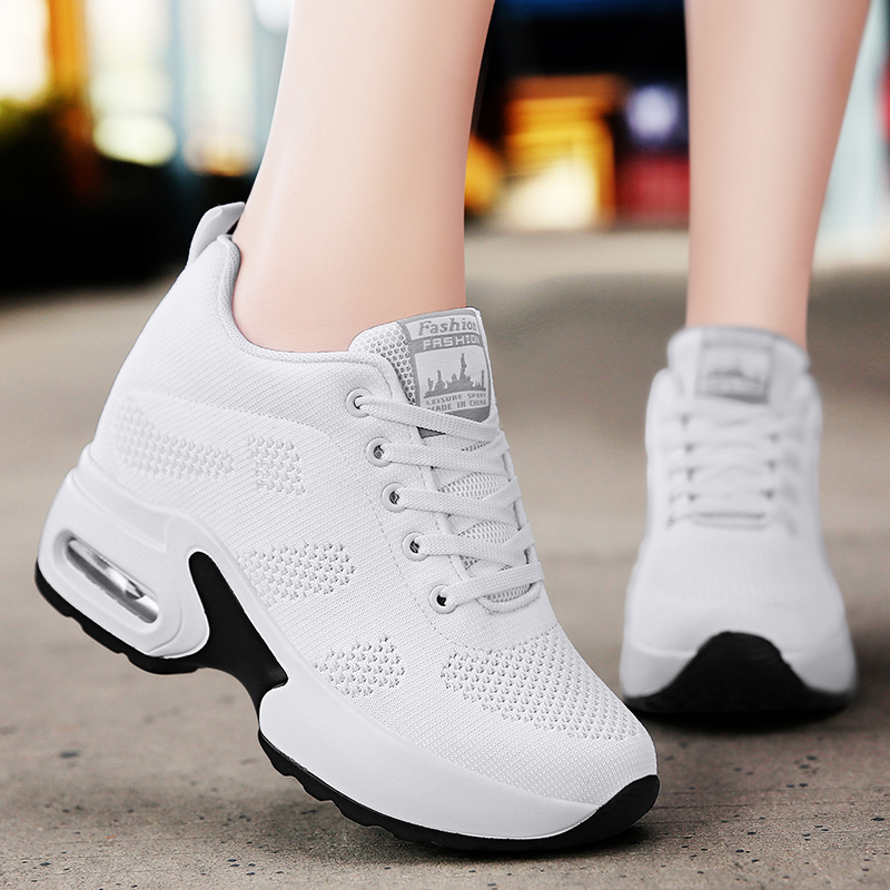 WADNASO Flying Knitting Fashion Sneakers Women Hide Heels Casual Shoes Breathable Platform Sneakers Wedge White Shoes XZ120 (37)
