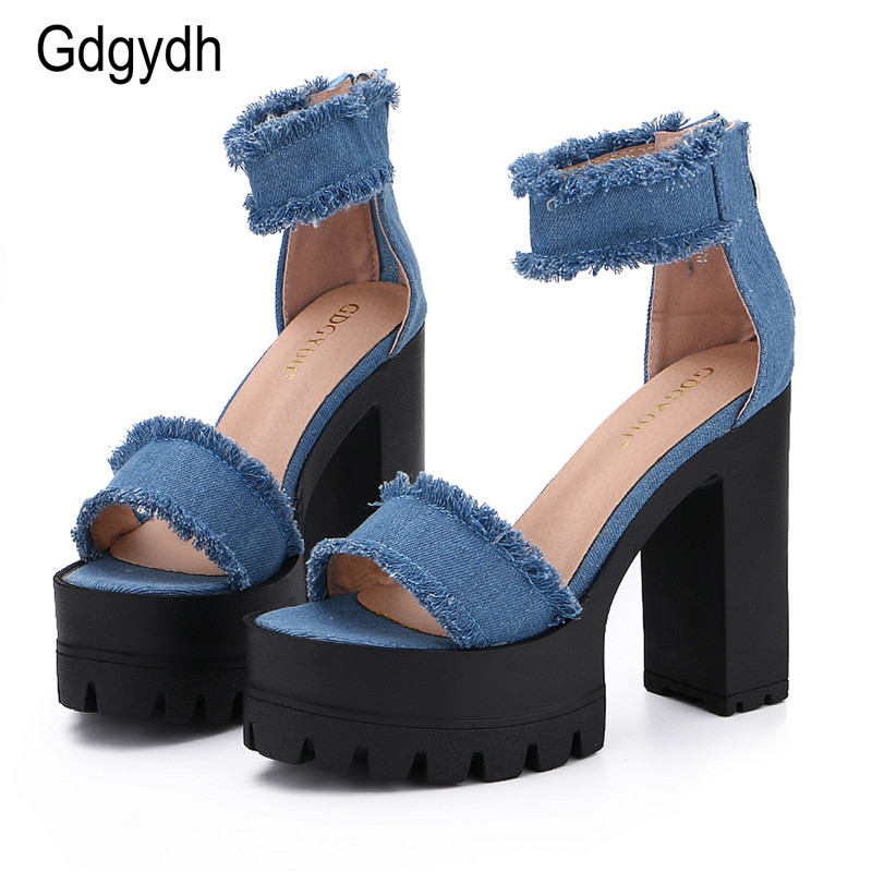 Gdgydh 2017 New Summer Shoes Fashion Denim Tassel Women Sandals Thick Heels High Platform Zipper Female Shoes Large Size 35-39 беруши archimedes norma 91886