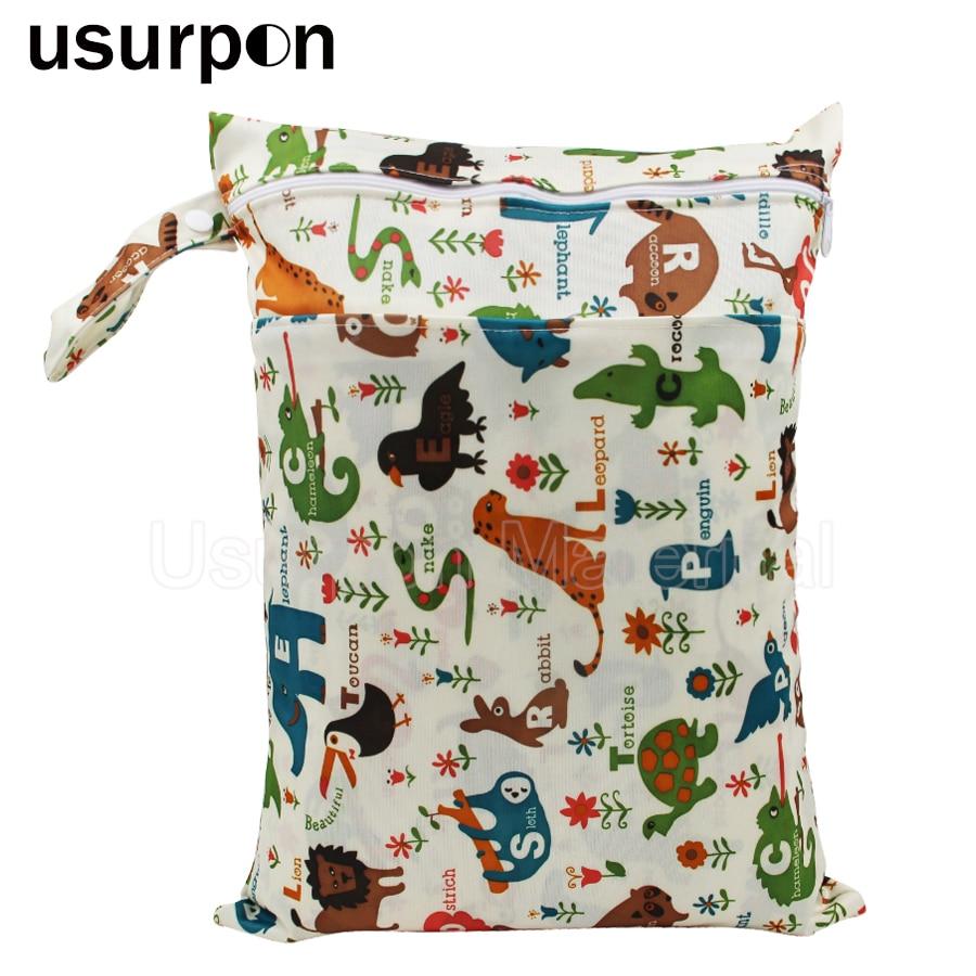 [usurpon] 1 Pc 30*40 Cm Double Pocket Wet Bag Nappy Bag And Printed Pattern Snap Handbag Waterproof Pul Diaper Bag