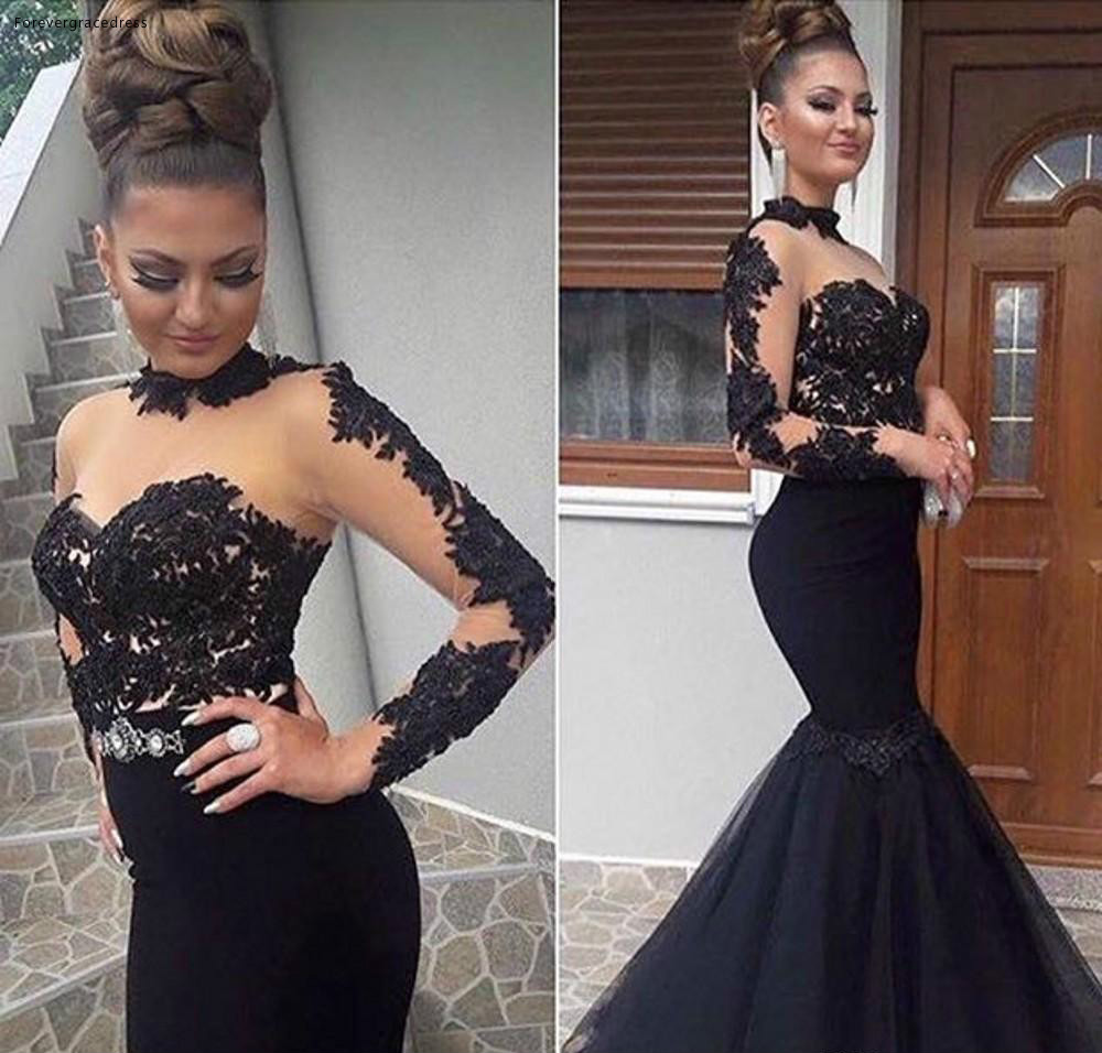 Stylish High Neck Prom Dresses Sexy See Through Tulle Mermaid Long Prom Party Dress Glamorous Appliques Long Sleeve Zipper Evening Dress 105 (1)