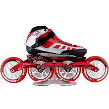 speed handmade inline skating shoes red and black roller skates with powerslide speed skate wheels