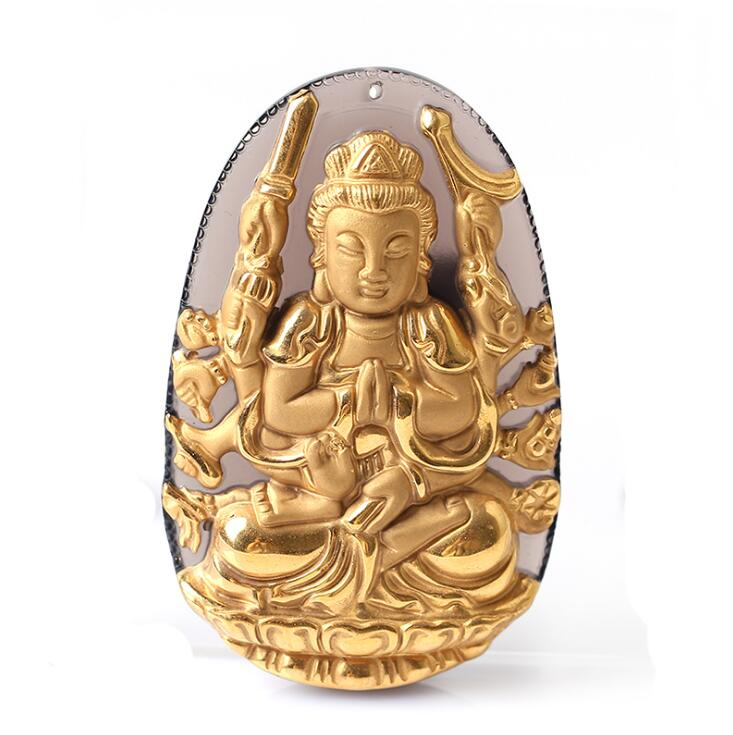 Natural Ice Clear Obsidian Carved Gold color Chinese Thousand-Hand Kwan-Yin Lucky Amulet Pendant +free Necklace fashion Jewelry natural jade black pendant women jewelry pendants black obsidian handmad carved chinese charm necklace fashion hand carved gift