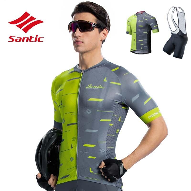 Ensemble Maillot de cyclisme Santic hommes 4D éponge rembourré Pro vêtements de cyclisme vélo vélo Maillot costumes Sportswear Maillot Ropa Ciclismo