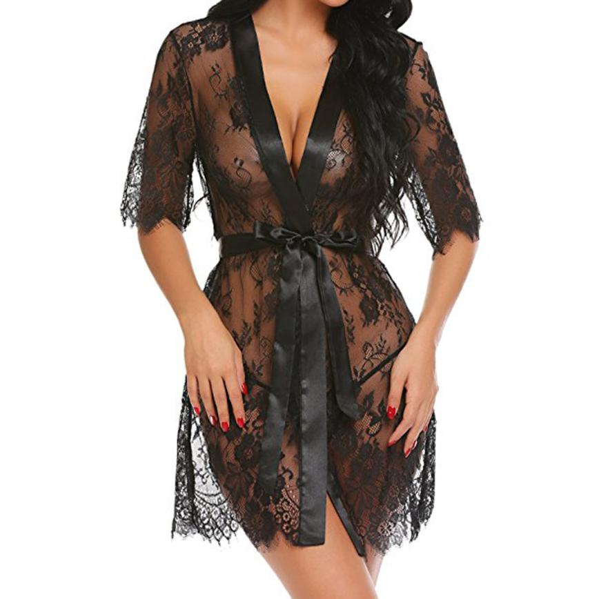 Nightwear Robe Kimono Lingerie Sheer Sexy Women's Summer Babydoll Hot Fashion Solid Lace