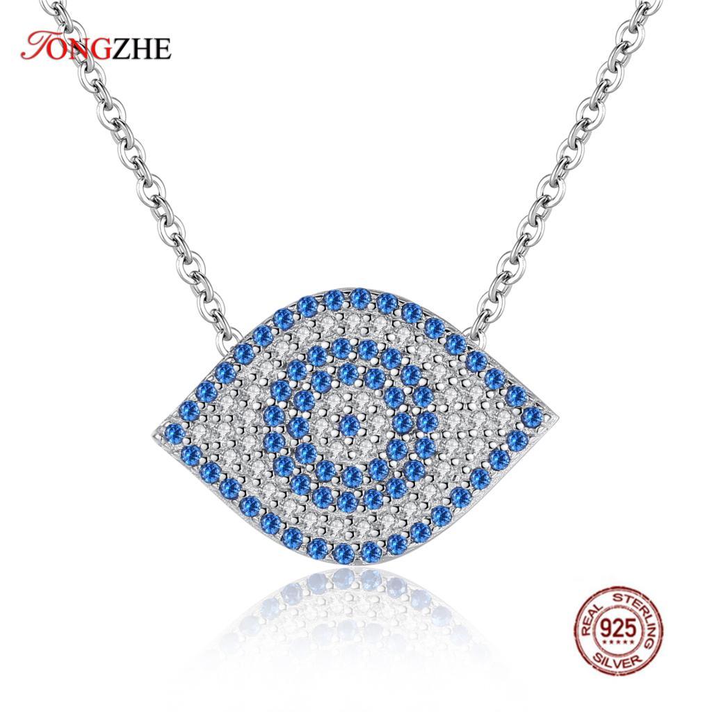 TONGZHE 100% 925 Sterling Silver Pendant Statement Necklace Blue Evil Eye CZ Dragon Shrimp Design Charm Women Wedding Jewelry