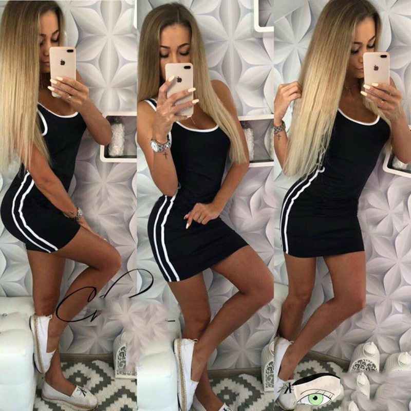 Summer Black Sexy Wrap Streetwear Sport Dress Sweatshirt Women