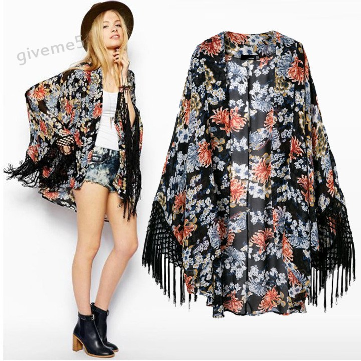 femmes blouses kimono cardigan en mousseline de soie. Black Bedroom Furniture Sets. Home Design Ideas