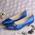 (20 Cores) de Alta Qualidade Strass Noiva Casamento Sapatos Salto Baixo de Cetim Azul Tamanho Grande