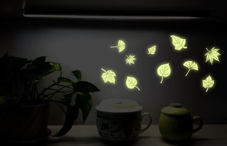 Free Shipping Flying Leaves luminous wall sticker Children Bedroom Fluorescence glow in dark Fluorescence Wall Stickers on sale