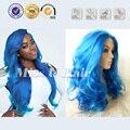 Волнистые длинный синий парик высокой термостойкостью синтетический синий фронта парик королевский синий парики