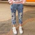 Сладкий Стиль детская Одежда Вишня Джинсы Мода Хлопок Повседневная Девушки Регулярный Твердые Средний Талия Симпатичные Одежда Длинные Брюки p008