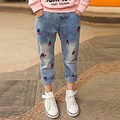 Sweet Style Children's Clothes Cherry Jeans Fashion Cotton Casual Girls Regular Solid Mid Waist Cute Clothing Long Pants p008