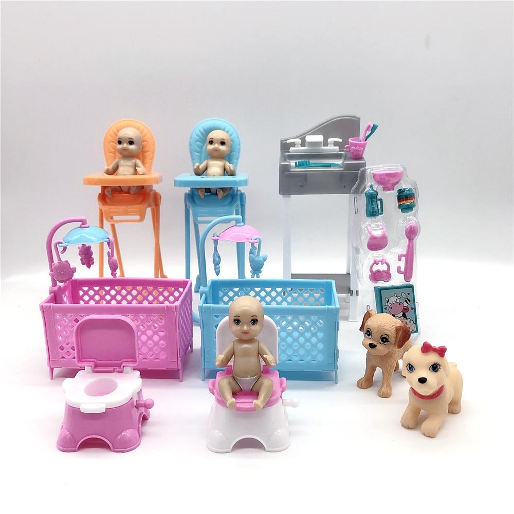 2020 moda bonito barbies princesa boneca acessórios simulação mini berço wc jantar cadeira lavatório filhote de cachorro brinquedo das crianças