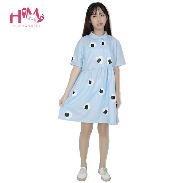 Japón mujeres del estilo del verano dress harajuku niña de aire azul algas arroz vegetal de impresión collar de la muñeca princesa vestidos de algodón