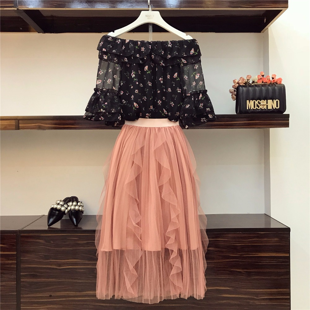 2018 Summer Gentle Women Clothing Set Slash Neck Flare Sleeve Prints Chiffon Bloue and Ruffled Mesh Skirt One Set