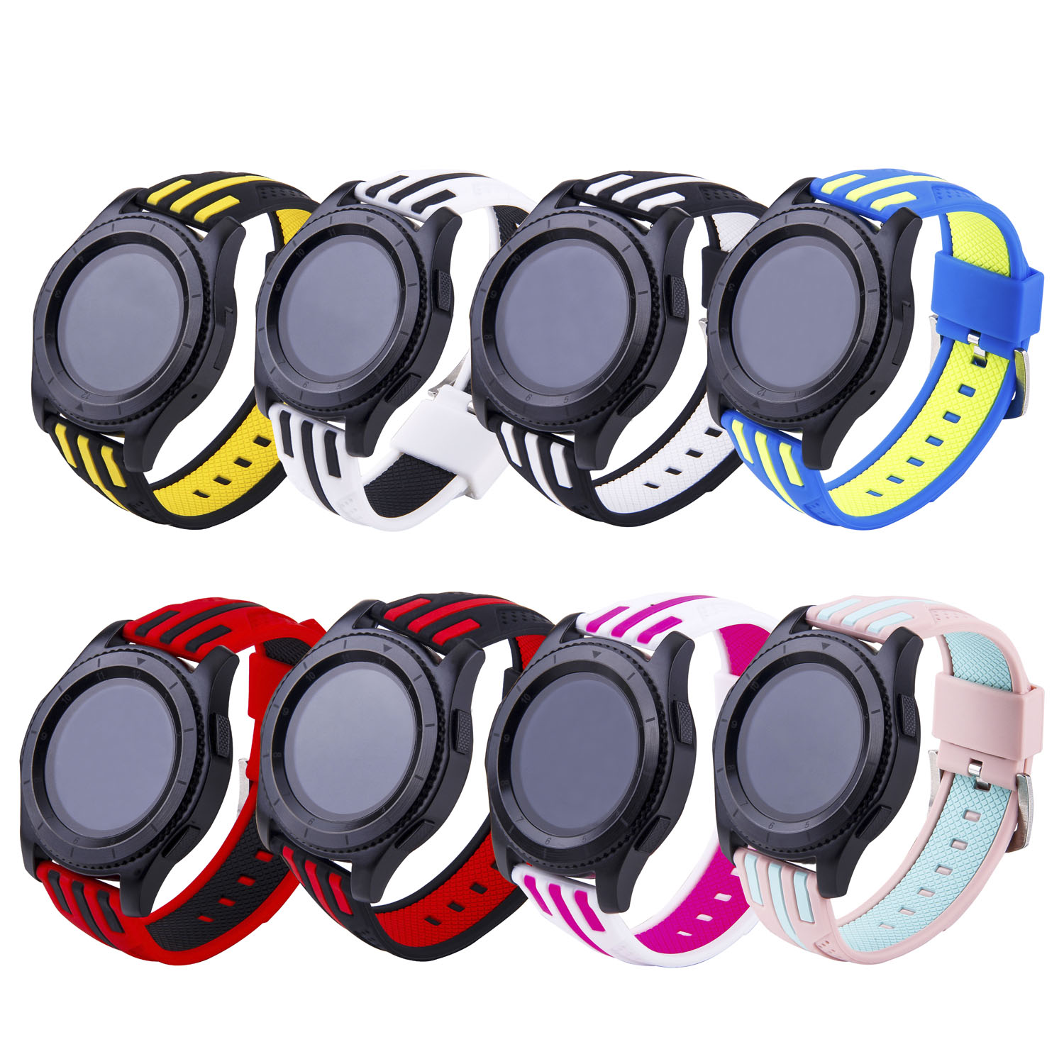 Dual Colors Stripe Replacement Strap for Samsung Gear S3 Frontier Soft Silicone Band for Gear S3