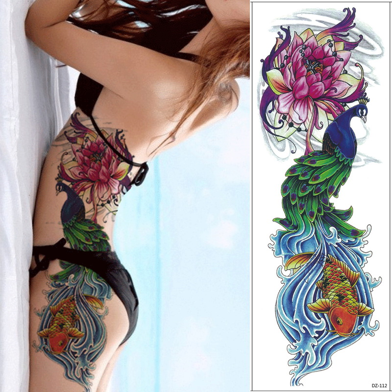 1 Piece Temporary Tattoo Sticker Water Transfer Wing: 1 Piece 48cm Full Flower Arm Tattoo Sticker 69models Fish