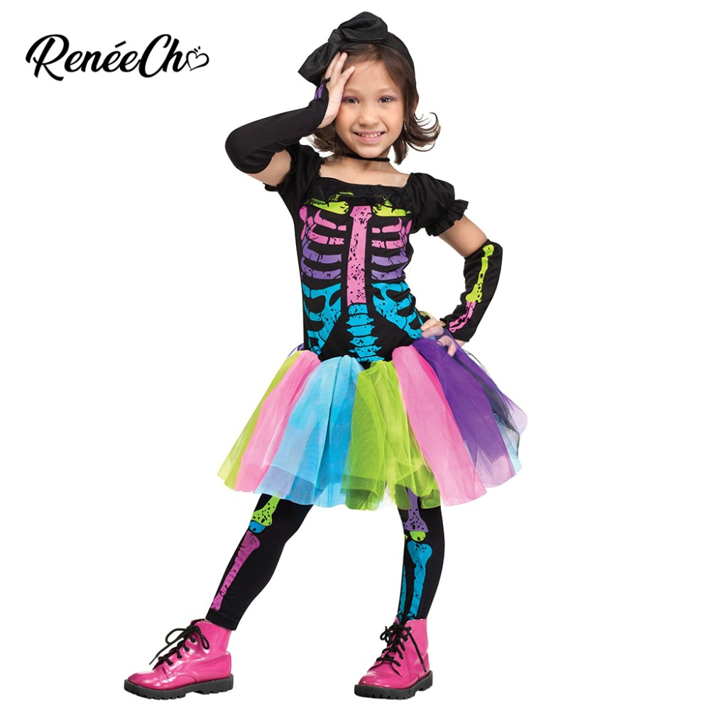 SKELETON GIRL MULTICOLORED HALLOWEEN OUTFIT FANCY DRESS COSTUME AGES 4-12 YEARS