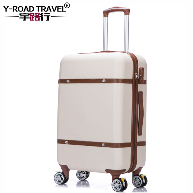 20'24'26' Retro Zipper Spinner Casters With lock Luggage, PC Shell Rolling Luggage Bag Trolley Case Travel Suitcase Free shiping universal uheels trolley travel suitcase double shoulder backpack bag with rolling multilayer school bag commercial luggage