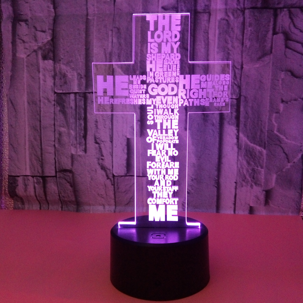Confident Cross 3d Lamp 7 Color Touch Led Visual Night Table Lamps For Living Room Customization Manufacturer Direct Selling Lighting Led Table Lamps