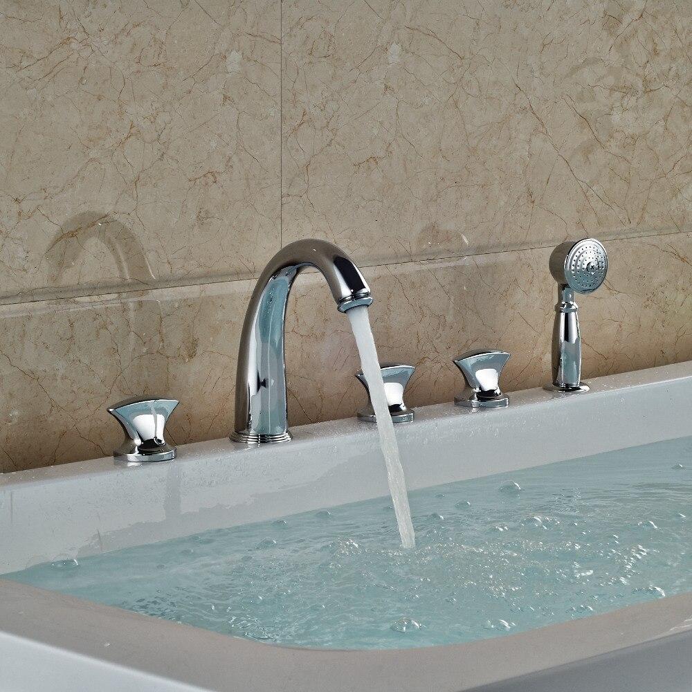 Modern Chrome Brass Bathroom Tub Faucet W/ Hand Shower Mixer Tap 5 PCS Shower форма футбольная 2k futuro grand