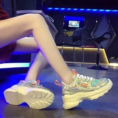 2019 色歳の靴ネット赤女性スーパー火災明るい顔レーザー光沢のあるファッション知恵スモーク靴-1