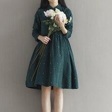 Sonbahar hanım gevşek büyük metre Şen hanım yazınsal retro kadife yaka işlemeli uzun kollu elbise kızlar için