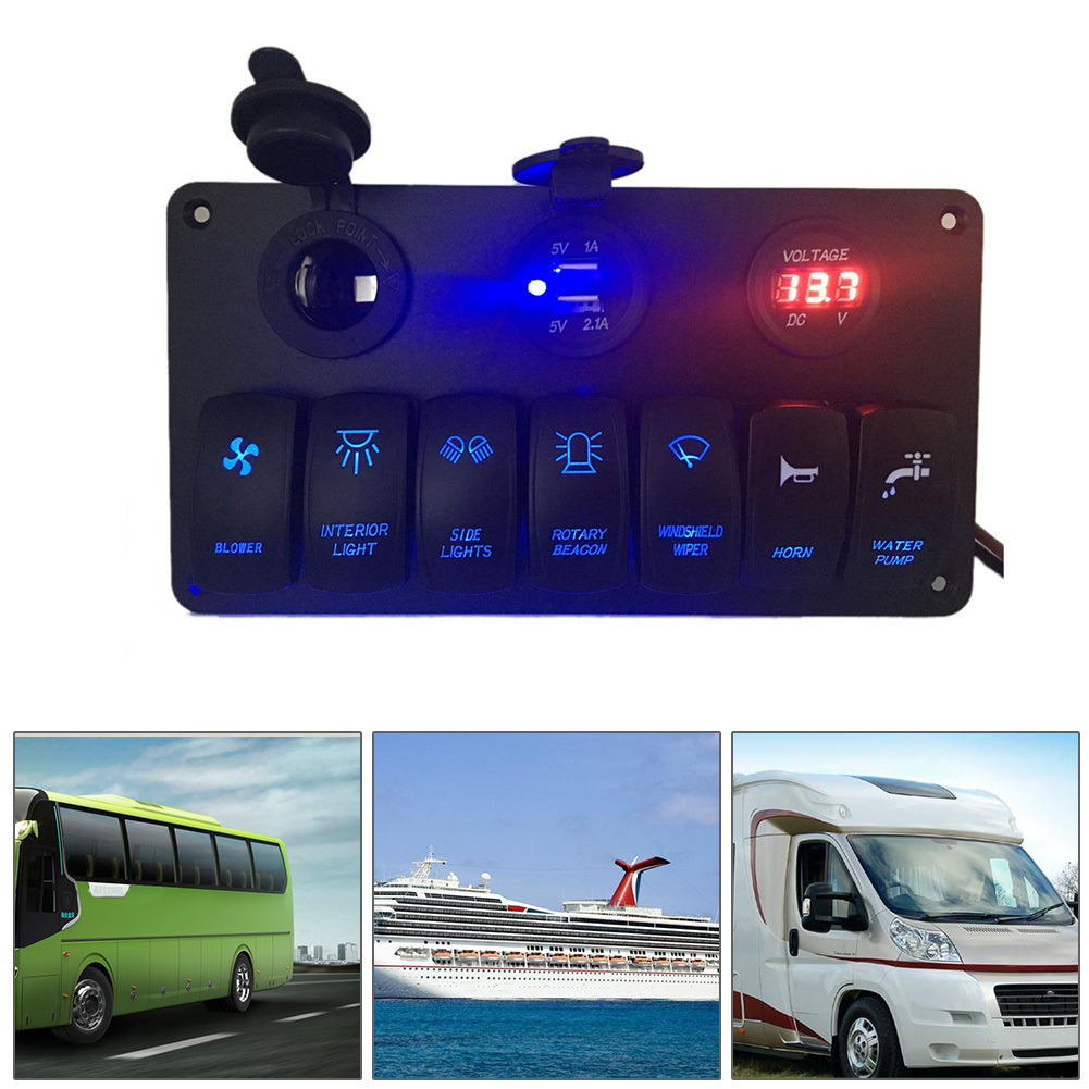 6V-30V 7 Gang LED Switch Panel Circuit Breaker Charger Dual USB Socket IP65 Cigaretter Plug Voltmeter For Car Bus Yacht Camper недорого