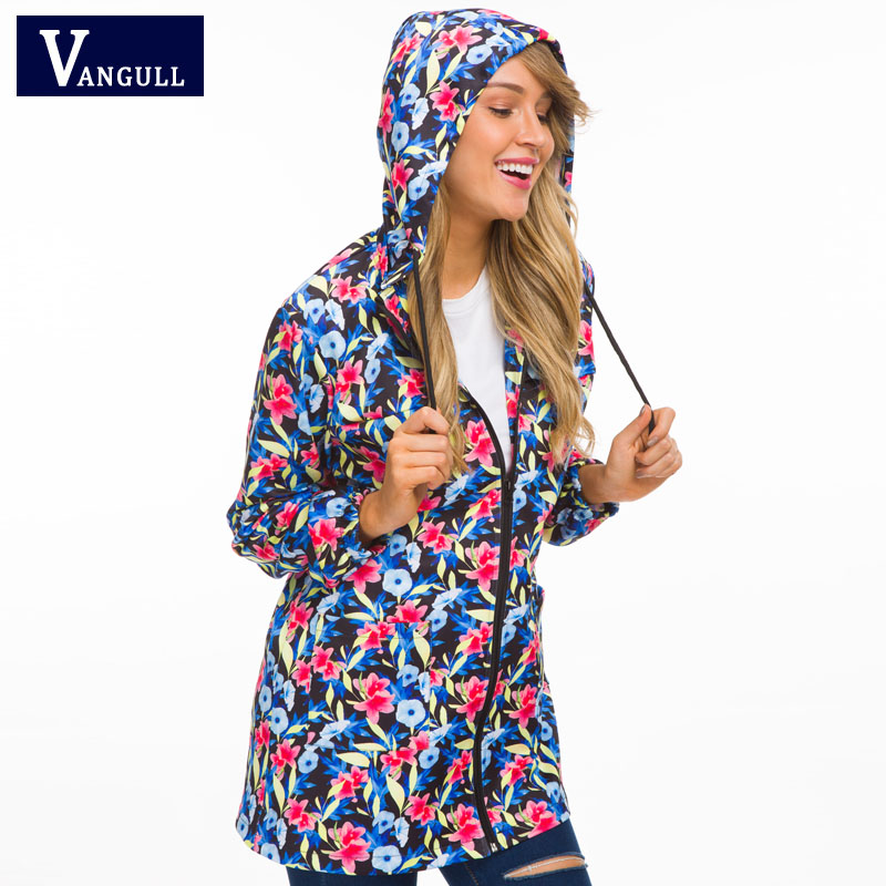 Vangull Women Hooded   Jackets   2018 New Autumn Causal windbreaker Long   Basic     Jackets   Coats Zipper Female Print Floral   Jackets