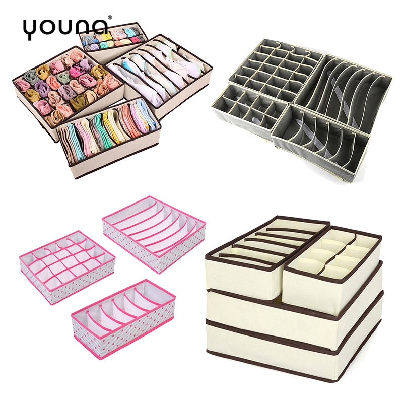 Foldable <font><b>Underwear</b></font> <font><b>Drawer</b></font> <font><b>Organizers</b></font> Dividers Closet Dresser Clothes Storage <font><b>Organizer</b></font> Box For Bras Scarves Ties Socks Boxes image