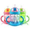 Venta caliente 240 ml Lindo Taza de Bebé Niños Niños Aprender Alimentación Mango Paja Botella de Agua Potable Mamadeira Sippy Taza de Entrenamiento