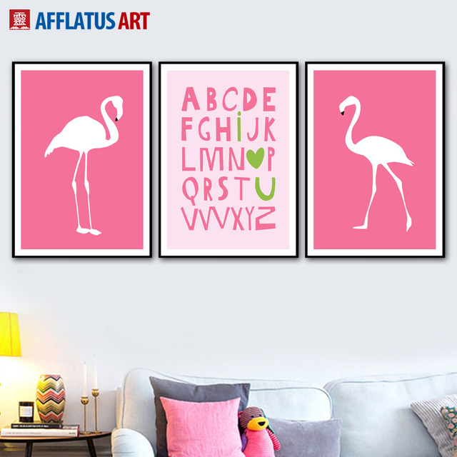 AFFLATUS Letters Flamingo Posters And Prints Wall Art Canvas ...