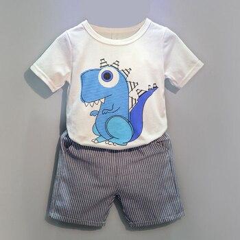 2019 new Summer children dinosaurs patterns suits boys girls clothing sets kids fake necktie tops t-shirt+pants 2pcs/set conjuntos casuales para niñas