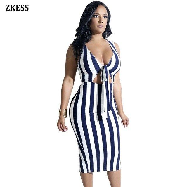 Zkess Women Navy Knot Front Cutout Slit Back Striped Dress Sexy V-Neck Sleeveless Bodycon Night Club Party Midi Dress LC610244