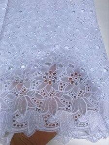 Image 5 - Tissus africains en dentelle nigériane 100% coton, voile de suisse, tissus africains pour robe de mariée, 5 yards/lot, 5816